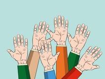 Begrepp av lyftta upp händer Begrepp av utbildning, affärsdrev på blå bakgrundsvektorillustration stock illustrationer