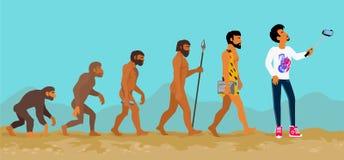 Begrepp av mänsklig evolution från apa till mannen stock illustrationer