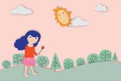 Begrepp av miljön med en gullig flickavektorillustration stock illustrationer