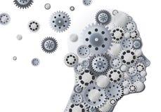 Begrepp av minnesförlust med ett profilhuvud som flyr från kugghjul när du symboliserar reflexion royaltyfri illustrationer
