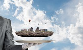 Begrepp av modern stadsplanering Arkivfoto