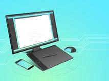 Begrepp av moderna elektroniska apparater Arkivbild