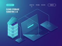 Begrepp av molnlagring, dataöverföring Serverrum, isometrisk vektor 3d för stor datorhall stock illustrationer