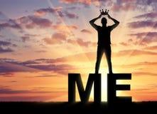 Begrepp av narcissism- och själviskhetmannen arkivbild