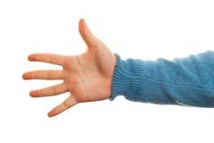 Begrepp av nummer fem med handen på vit bakgrund Royaltyfri Bild