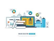 Begrepp av online-utbildning, utbildningskurser, universitet, tutorials Royaltyfri Bild