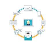 Begrepp av online-utbildning, utbildningskurser, universitet, tutorials Royaltyfria Bilder