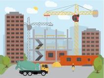 Begrepp av processkonstruktion som bygger en bakgrund för husvektorillustration Royaltyfri Foto