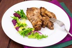 Begrepp av protein-kolhydrat näring Fegt kött med grönsallat royaltyfri fotografi