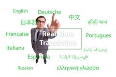 Begrepp av realtidsöversättningen från utländskt språk arkivfoton