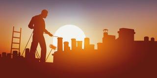 Begrepp av riskabelt arbete med en lampglassopare som arbetar på ett tak i värmen royaltyfri illustrationer