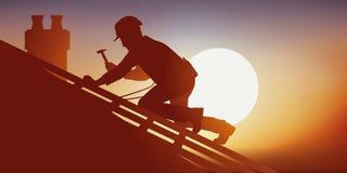Begrepp av riskabelt arbete med en snickare som arbetar på ett tak stock illustrationer