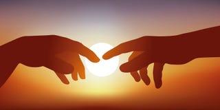 Begrepp av skapelsen och kommunikationen, med händerna av Adam och guden som kommer in i kontakt stock illustrationer