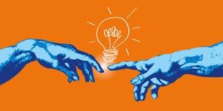 Begrepp av skapelsen och kommunikationen, med händerna av Adam och guden som finner en idé stock illustrationer