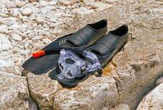 Begrepp av sommarsemestrar Maskering fena, snorkel Arkivbild