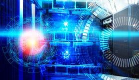 Begrepp av stor informationsteknik om data Serveror och kablar av den moderna datorhallen med teknologiska hologram Royaltyfria Foton
