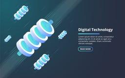Begrepp av stora data - bearbeta, energistation av framtid, serverrumkugge, isometrisk illustration för datorhall vektor illustrationer