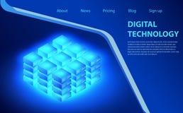 Begrepp av stora data - bearbeta, energistation av framtid, serverrumkugge, isometrisk vektorillustration för datorhall royaltyfri illustrationer