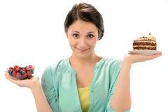 Begrepp av sund näring med kvinnan Fotografering för Bildbyråer