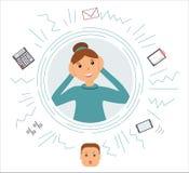Begrepp av sysselsatthet: Härlig le kvinnarevisor för mycket upptagen sort med många tankar om arbete Det finns en räknemaskin, royaltyfri illustrationer