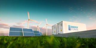 Begrepp av systemet för energilagring Förnybara energikällor - photovoltai Royaltyfri Fotografi