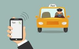 Begrepp av taxiservice Mobiltelefon i den manliga handen med en taxiappell på skärmen Gul taxibil med en taxichaufför vektor illustrationer