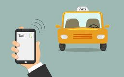 Begrepp av taxiservice Mobiltelefon i den manliga handen med en taxiappell på skärmen Gul taxibil utan en taxichaufför stock illustrationer