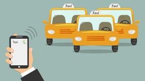 Begrepp av taxiservice Mobiltelefon i den manliga handen med en taxiappell på skärmen Tre gul taxi utan en taxichaufför - taxi vektor illustrationer