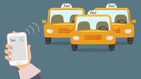 Begrepp av taxiservice Mobiltelefon i gullig kvinnlig hand med en taxiappell på skärmen Gul taxi tre utan en taxichaufför royaltyfri illustrationer