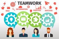 Begrepp av teamwork för rengöringsduk och infographic Royaltyfri Bild