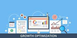 Begrepp av tillväxtoptimization - plant designbaner stock illustrationer