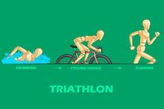 Begrepp av Triathlonsportar med den trämänskliga skyltdockan Arkivbilder