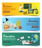 Begrepp av utbildning Horisontalbaner med färgrika skolabeståndsdelar vektor illustrationer