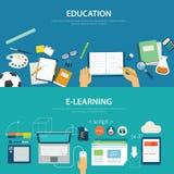 Begrepp av utbildning och e-att lära framlänges design royaltyfri illustrationer