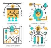 Begrepp av utbildningsseminarier, personlig effektivitet vektor illustrationer