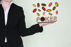Begrepp av vinnande pokerchiper Royaltyfri Bild