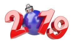 begrepp 2019 Blått för nytt år och rött symbol med träd t för hristmas för ï¿ ½ royaltyfri illustrationer