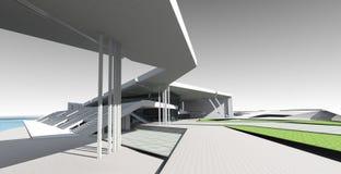 begrepp 3D av byggnad Royaltyfri Fotografi