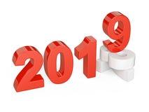 2018 begrepp för 2019 ändring Föreställer viten för det nya året och rött vektor illustrationer