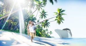 Begrepp för ö för förälskelse för parromansstrand arkivfoto