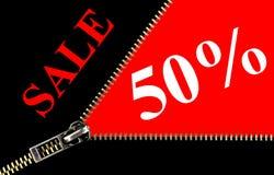 Begrepp för öppning för för 50% försäljningsplakat och zipper Royaltyfri Bild