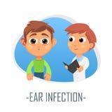 Begrepp för örainfektionläkarundersökning också vektor för coreldrawillustration Arkivfoto