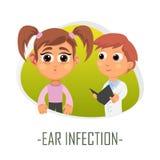 Begrepp för örainfektionläkarundersökning också vektor för coreldrawillustration Royaltyfri Bild