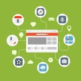 Begrepp för överföring för information om rengöringsdukwebbläsare Arkivfoton
