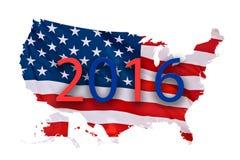 Begrepp för översikt för 2016 USA-presidentval som isoleras på vit Royaltyfri Bild