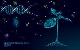 Begrepp för abstrakt begrepp för växtgroddbioteknik 3D framför tillägget för vitaminet för teknik för genom för DNA:t för plantat stock illustrationer