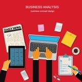 Begrepp för affärsanalys, mall, baner, vektorillustration i den plana designen för webbplatser, Infographic design Royaltyfri Fotografi