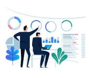 Begrepp för affärsanalyticsdesign och affärslagmöte för att arbeta på instrumentbrädabildskärm stort diagrammål på vektor illustrationer