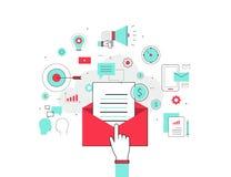 Begrepp för affärsemailmarknadsföring vektor illustrationer