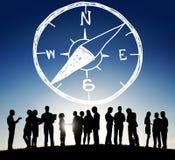 Begrepp för affärsföretag för riktning för navigering för kompasslängdfrihet Royaltyfri Foto